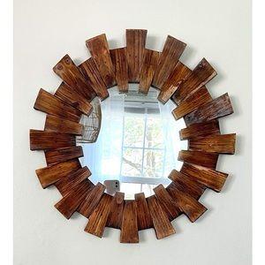 Natural Wooden Round Farmhouse Mirror